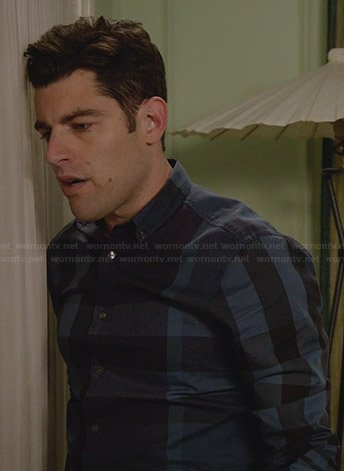 Schmidt's navy blue checked shirt on New Girl