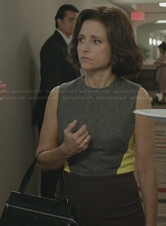 Selina's yellow and grey colorblock dress on Veep