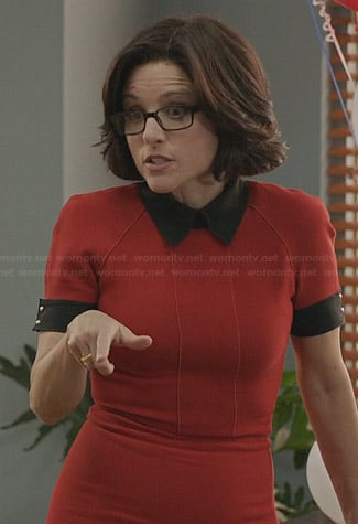 Selina's red contrast collar dress on Veep