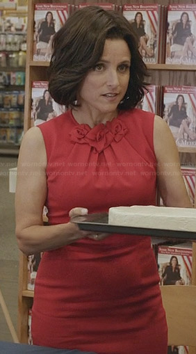 Selina's red rosette detail dress on Veep