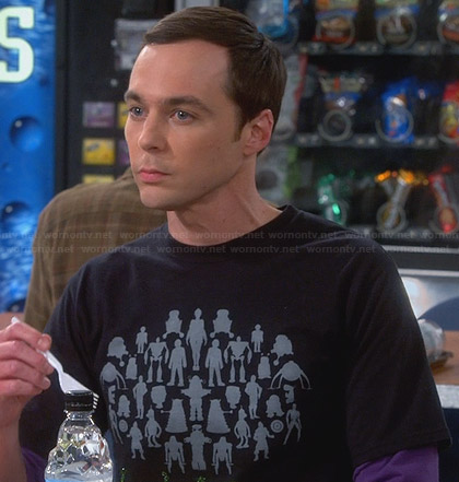 Sheldon's black robots graphic tshirt on The Big Bang Theory