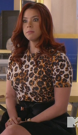 Tamara's leopard print top and black bow belt on Awkward