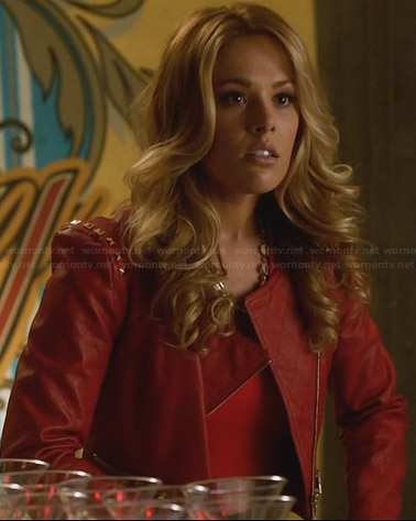 Taylor's red studded leather jacket on Star-Crossed