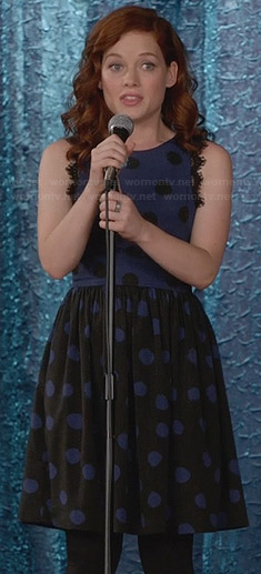 Tessa's blue and black polka dot dress on Suburgatory