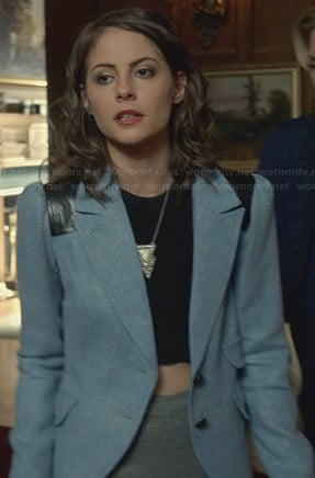 Thea's blue blazer with leather shoulders on Arrow