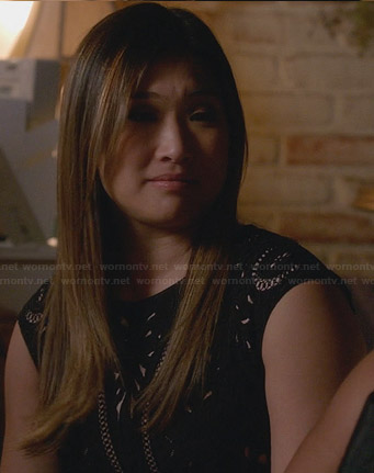 Tina's black embroidered dress on Glee