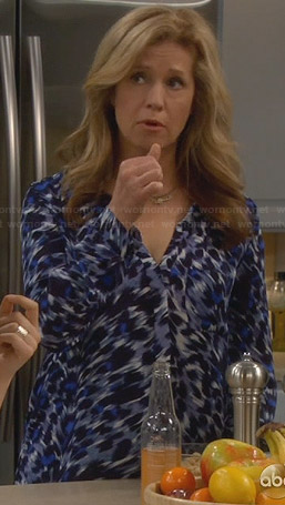 Vanessa's blue leopard print blouse on Last Man Standing