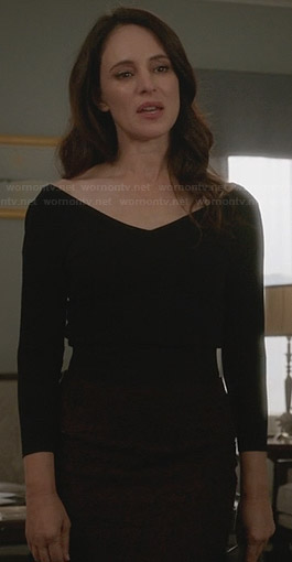 Victoria's black wide v-neck top and red lace skirt on Revenge