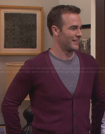 Will's burgundy ribbed cardigan on Friends with Better Lives