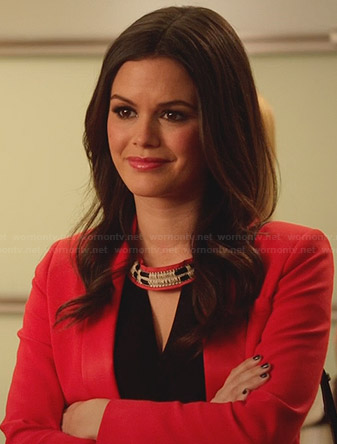 Zoe's black and red keyhole top on Hart of Dixie