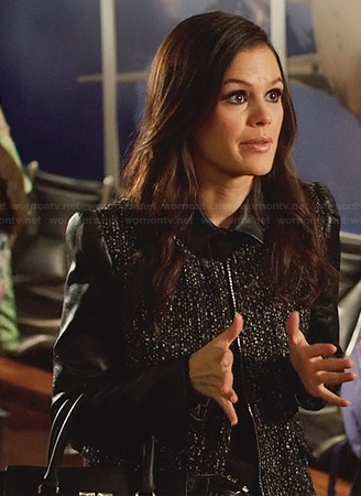 Zoe's black tweed coat with leather sleeves on Hart of Dixie