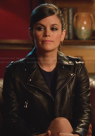 Zoe's cropped leather biker jacket on Hart of Dixie