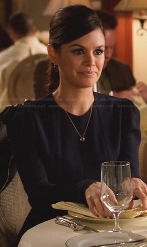 Zoe's navy blue long sleeved dress on Hart of Dixie