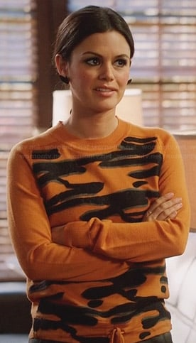 Zoe's orange scribble front sweater on Hart of Dixie