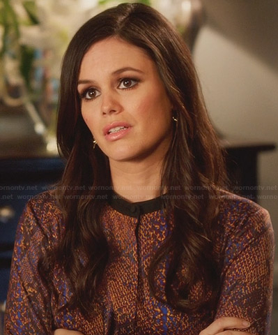 Zoe's purple snake printed blouse and leather two-tone skirt on Hart of Dixie