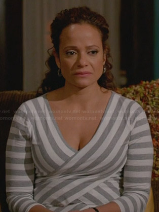 Zoila's grey multi-directional striped top on Devious Maids