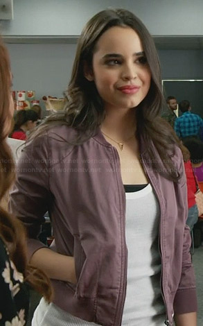 Soleil's purple bomber jacket on Faking It