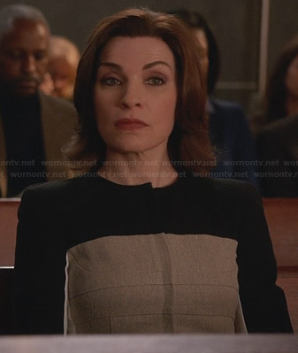 Alicia's beige and black colorblock jacket on The Good Wife