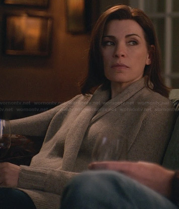 Alicia's beige draped front cardigan with cropped back on The Good Wife
