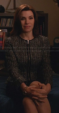 Alicia's tweed zip front peplum jacket on The Good Wife