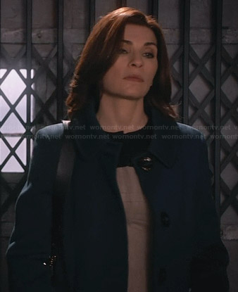 Alicia's teal blue coat on The Good Wife