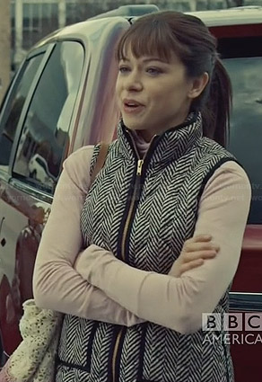 Alison's black and white herringbone print vest on Orphan Black