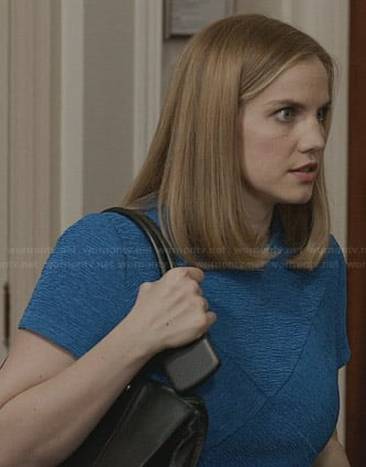 Amy's blue textured short sleeve dress on Veep
