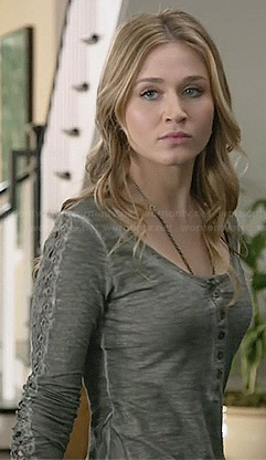 Amy's grey lace sleeve henley tee on Faking It