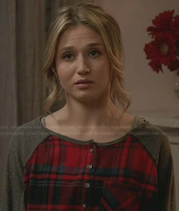 Amy's red plaid henley top with grey sleeves on Faking It