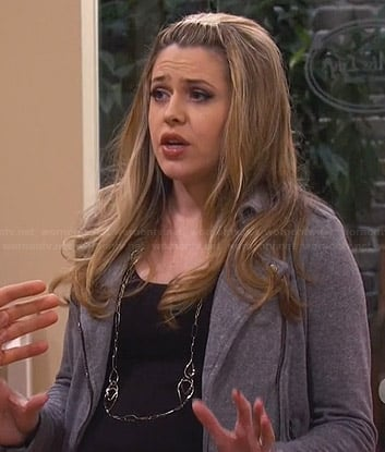 Andi's grey moto jacket on Friends with Better Lives