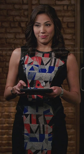 Angela's grey dress with red and blue geometric front on Bones