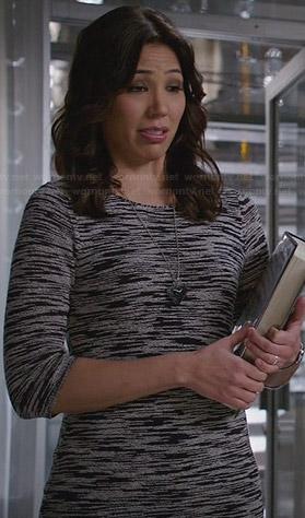 Angela's grey space dye sweater dress on Bones