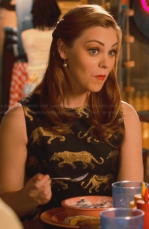 AnnaBeth's black and gold panther dress on Hart of Dixie