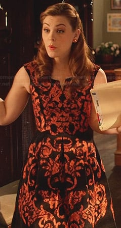 AnnaBeth's black and orange damask print dress on Hart of Dixie