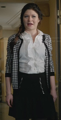 Belle's white ruffle front shirt and checked cardigan on Once Upon a Time