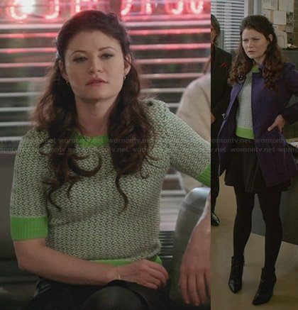 Belle's green sweater and purple coat on Once Upon a Time