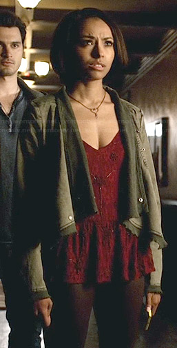 Bonnie's red beaded top, draped front jacket and heart necklace on The Vampire Diaries