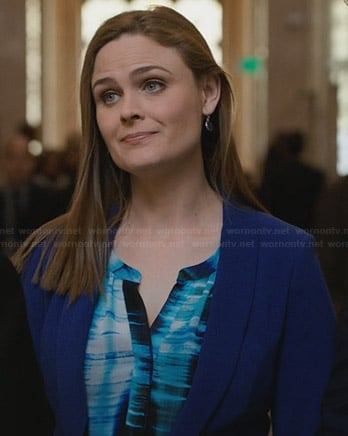 Brennan's blue and black printed split neck blouse on Bones
