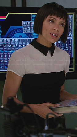 Camille's black and white collared top on Bones