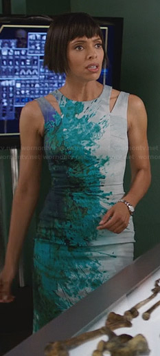 Camille's blue and green splatter print dress with shoulder cutouts on Bones
