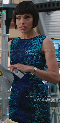 Camille's blue and turquoise texture print dress on Bones