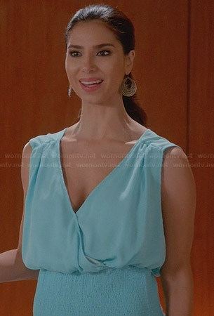 Carmen's blue smocked waist top on Devious Maids