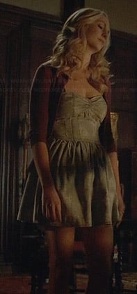 Caroline's denim sweetheart dress on The Vampire Diaries