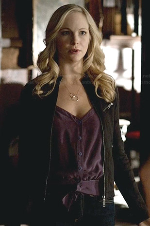 Caroline's purple tie front cami and black zip jacket on The Vampire Diaries