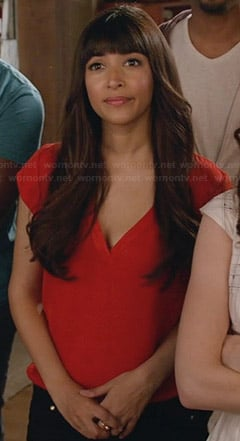 Cece's red v-neck top on New Girl