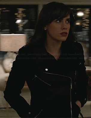 Charlotte's black leather panel moto coat on Revenge