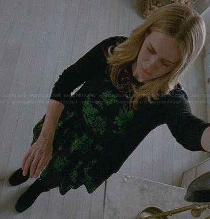 Cordelia's black and green floral lace illusion dress on American Horror Story