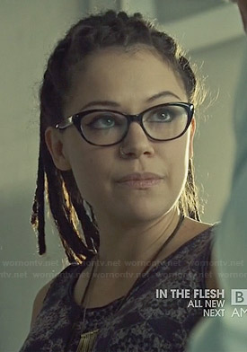 Cosima's purple lace-printed tank top on Orphan Black