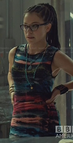 Cosima's multi colored tie dye dress on Orphan Black