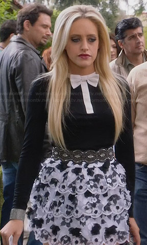 Dalia's black and white bowtie top and tiered skirt on Suburgatory